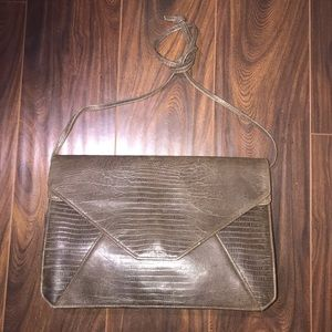 DONNA KARAN Collection Brown Leather Crossbody Bag